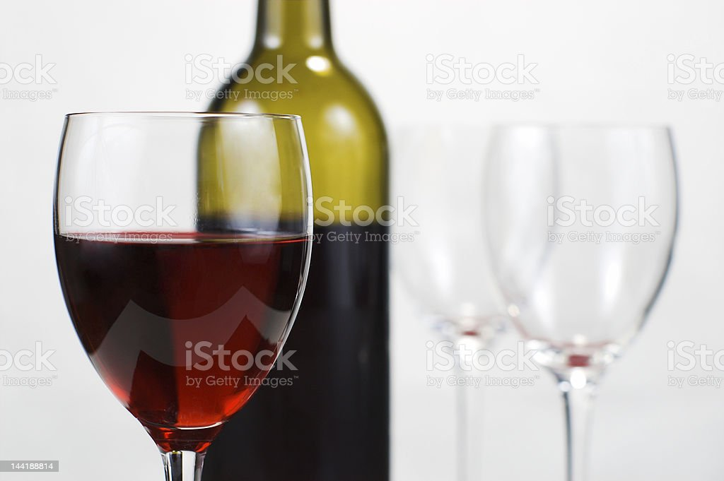 Closeup of wine bottle and glasses royalty-free stock photo