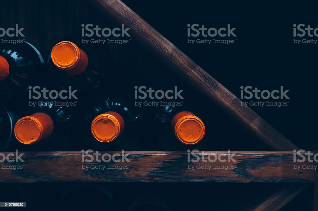 Close-up of wine storage stock photo