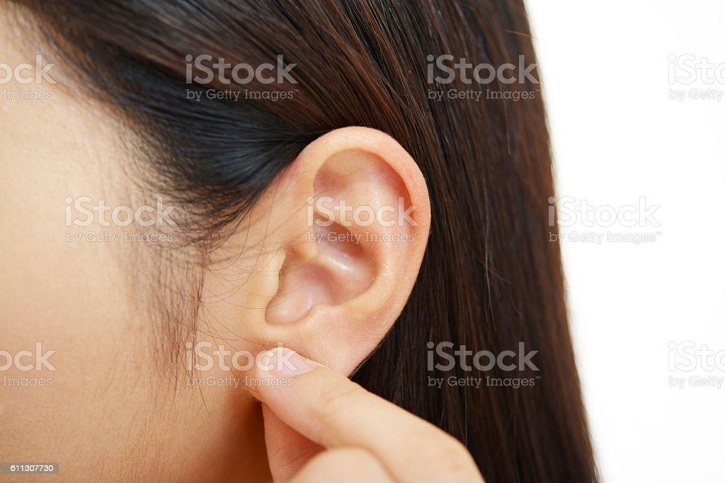Closeup of woman ear stock photo