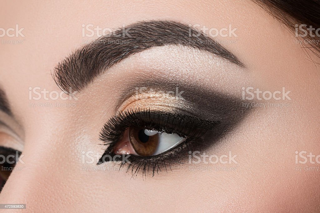 Close-up of woman eye with arabic makeup stock photo