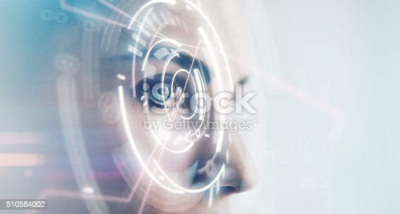 510584002istockphoto Closeup of woman eye with visual effects, isolated on white 510584002