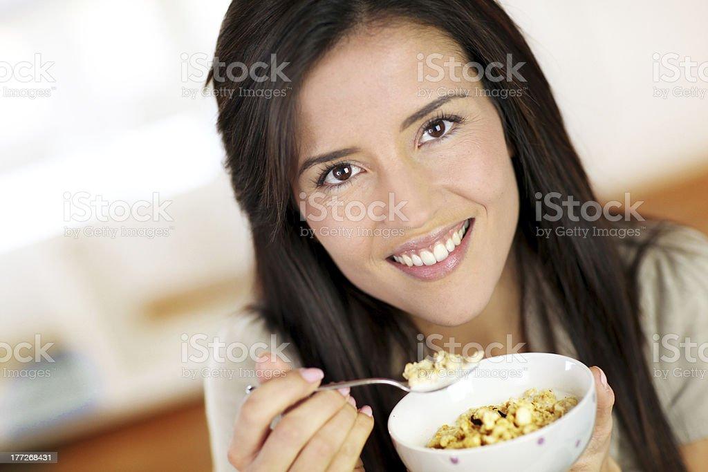 Closeup of woman having breakfast stock photo