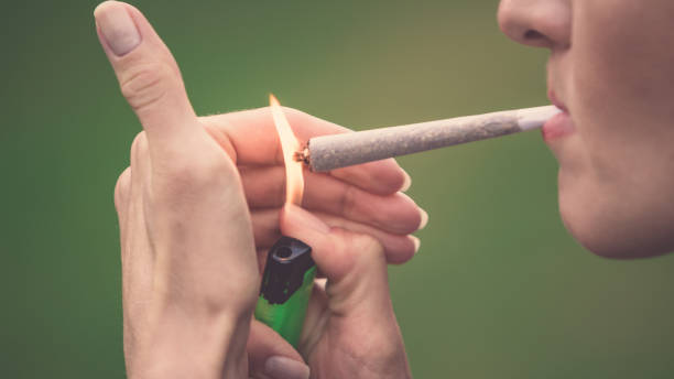 Close-up of woman lighting up marijuana cannabis joint with lighter and big fire. Ready made marihuana/hashish cigarette bought in coffee shop of Amsterdam (Holland - Netherlands) Close-up of woman smoking marijuana cannabis joint marijuana joint stock pictures, royalty-free photos & images