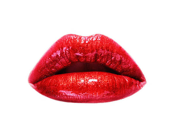 closeup of woman lips with red lipstick. isolated on white. - human lips stock photos and pictures