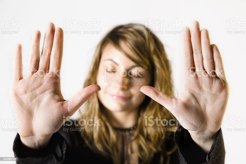 Close-up of woman putting palms up implying no more royalty-free stock photo