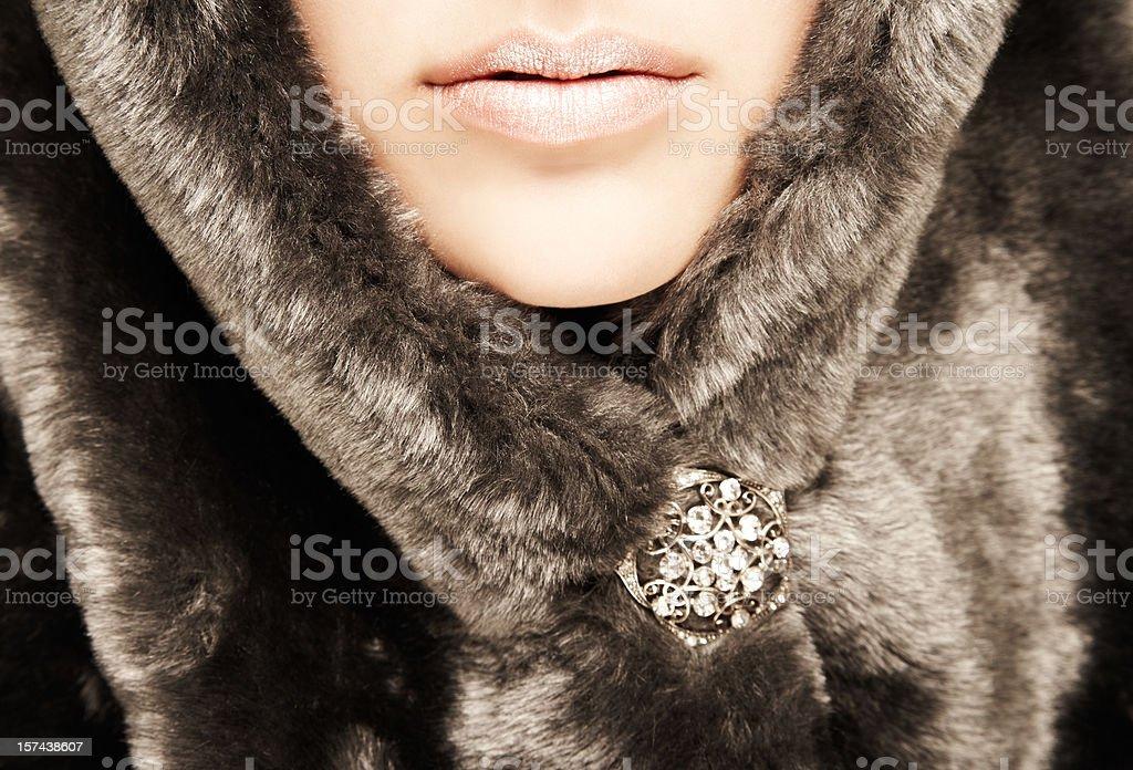 Close-up of Woman Wearing Fur Hood stock photo