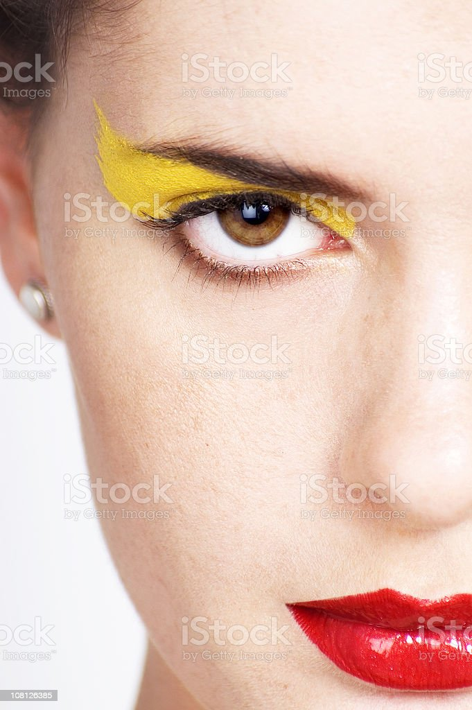 Close-up of Woman Wearing Trendy Make-up royalty-free stock photo