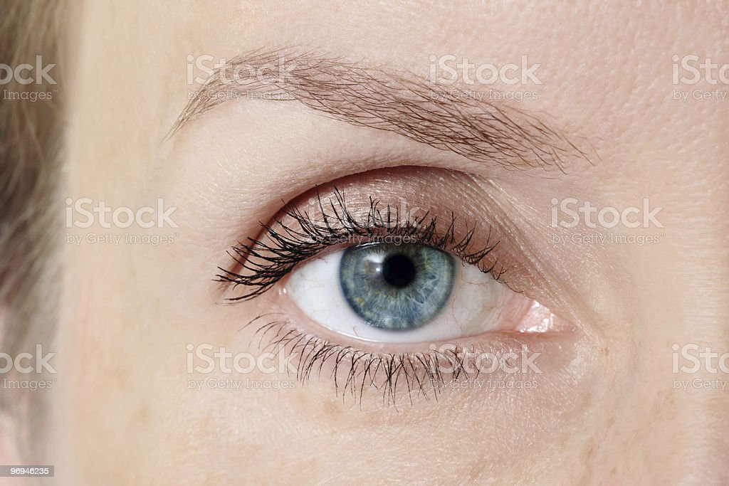 Closeup of woman's beautiful colored eyes royalty-free stock photo