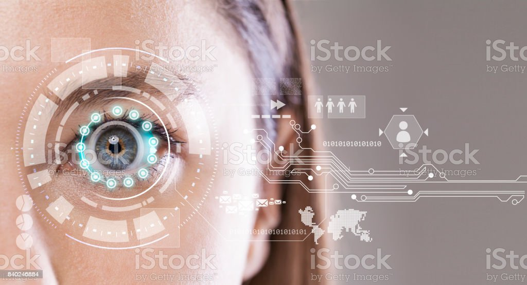 Close-up of woman's blue eye stock photo