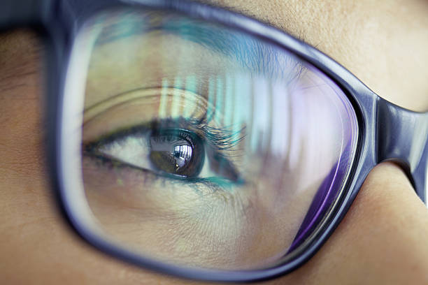Close-up of woman's eye looking forward stock photo