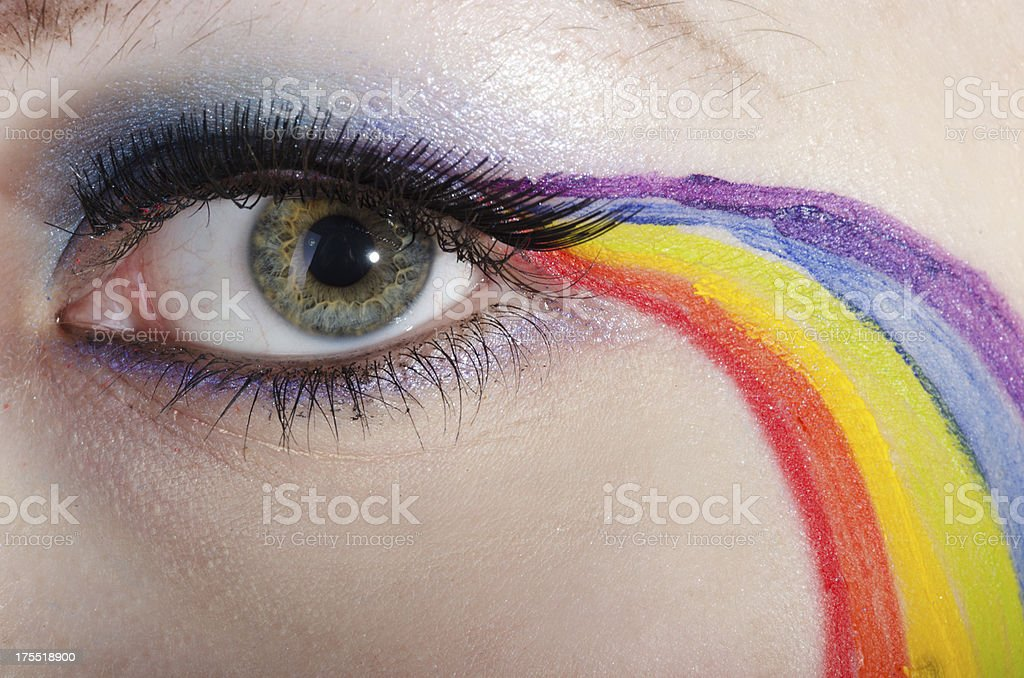 Closeup of woman's eye with rainbow makeup. royalty-free stock photo
