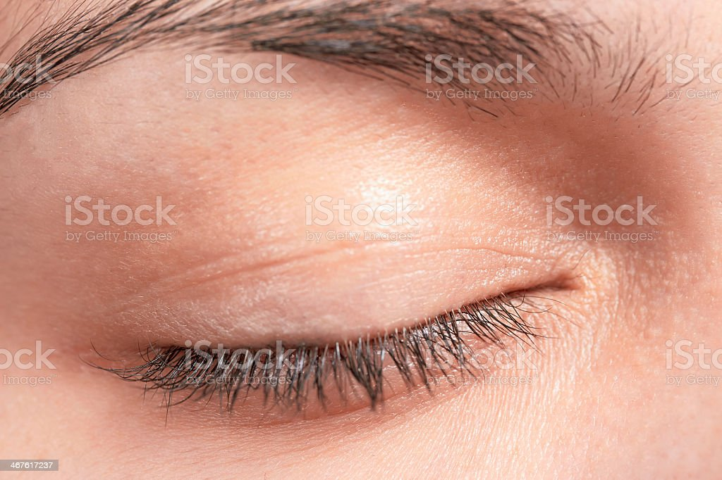 Close-up of woman's eyelid including eyelashes and eyebrow stock photo