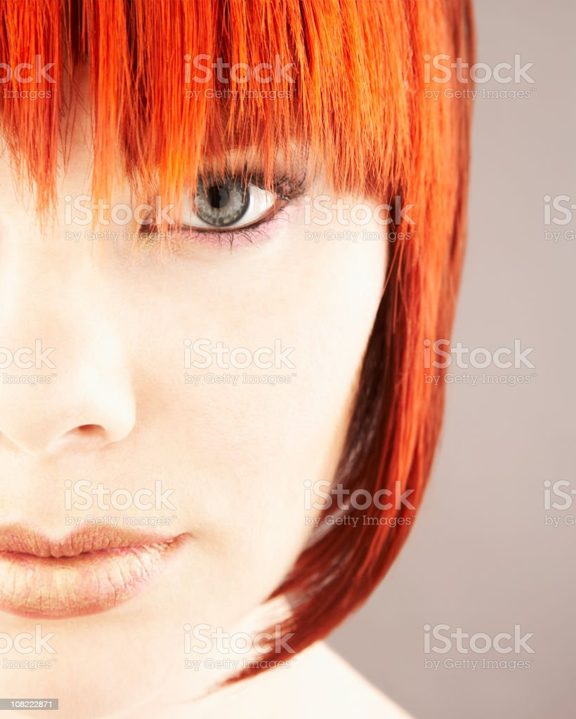Close-up of Woman's Face with Red Hair royalty-free stock photo
