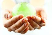 Green globe with high key effect