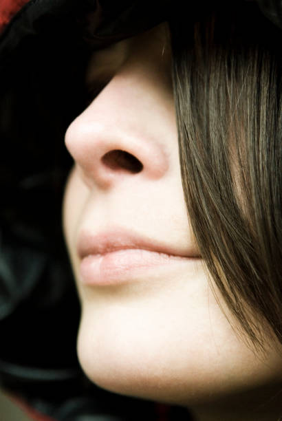 Close-up of Woman's Nose and Mouth stock photo
