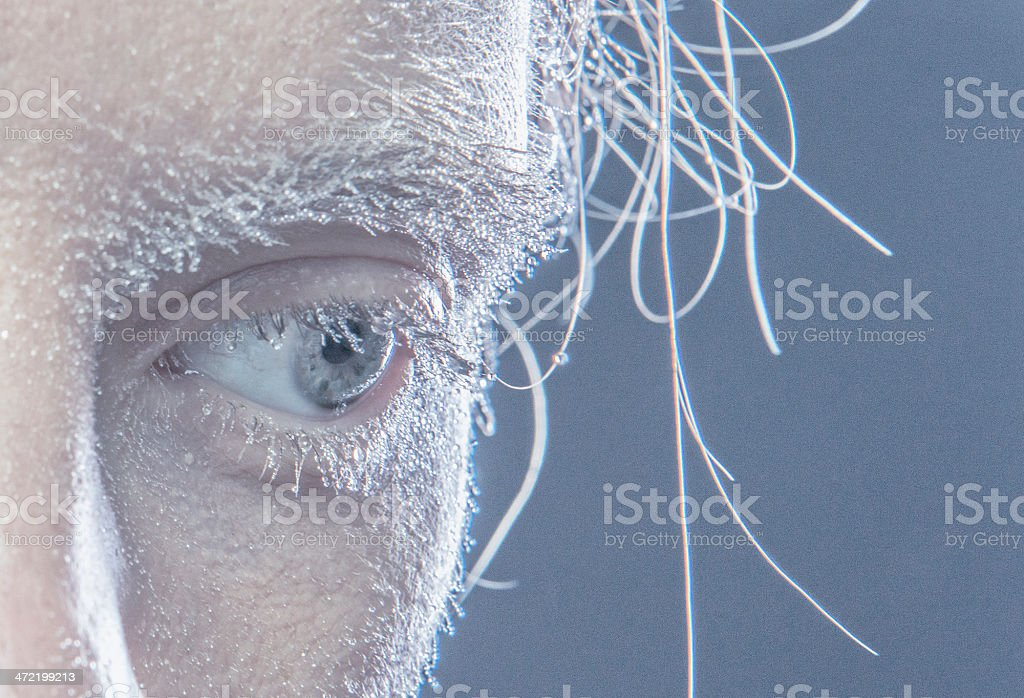 close-up of women eye in little water drops royalty-free stock photo