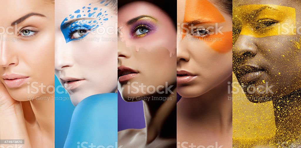close-up of women's faces with various colourful make-ups stock photo