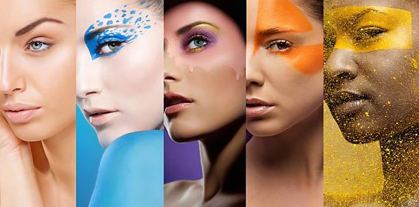 nahaufnahme von frauen gesichter mit verschiedenen bunten make-up - blaues augen make up stock-fotos und bilder