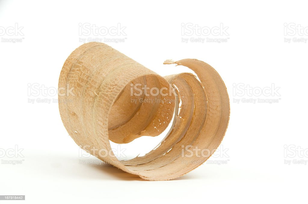Close-up of Wood Curl/Shaving #3-isolated on white stock photo