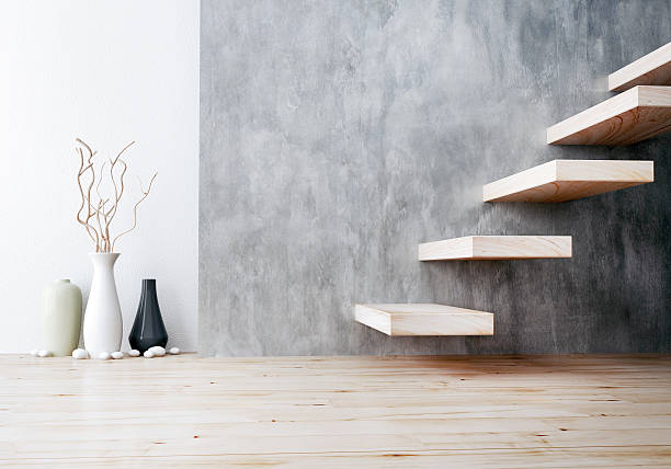 closeup of wood stair and vase ceramic stock photo