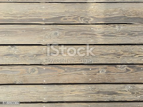 A close-up of a wooden boardwalk at the beach. The wood is slightly weathered. Shot with iPhone 6s plus. Plenty of room for copy or as a background. Shot on the boardwalk at The Peninsula beach, in Long Beach, CA.