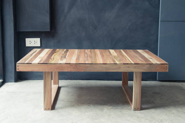 Closeup of wooden coffee table design stock photo