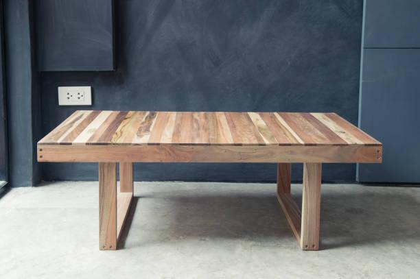 closeup of wooden coffee table design - coffee table imagens e fotografias de stock