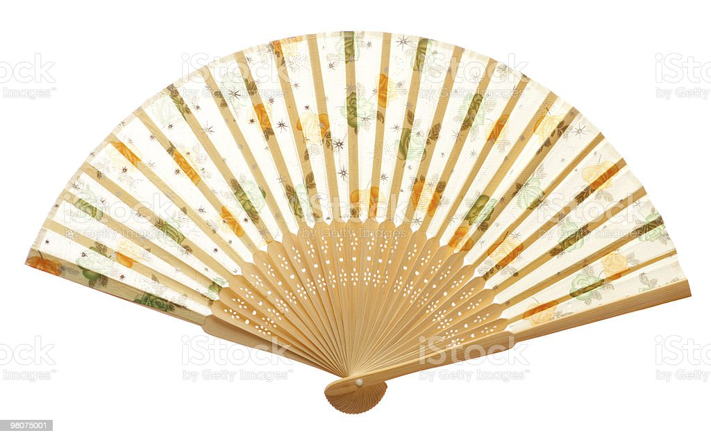 Closeup of wooden fan isolated on white. stock photo