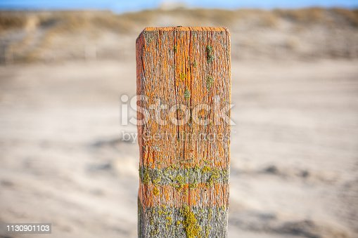 Close-up van strandpaal
