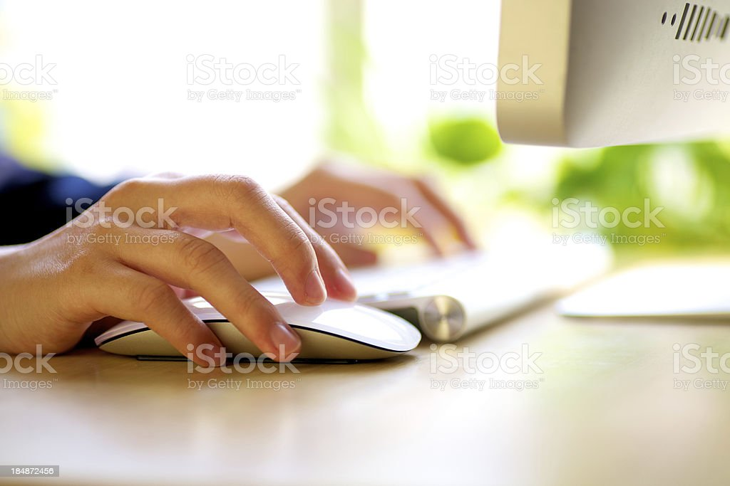 Close-up of working businesswoman stock photo
