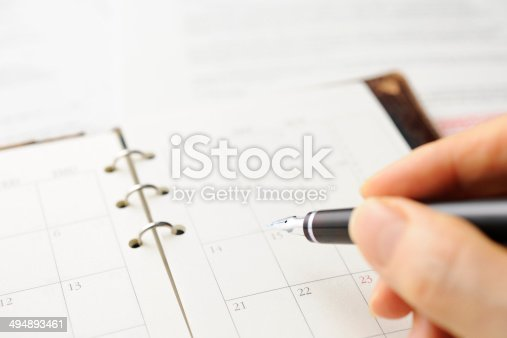 istock Close-up of writing a personal organizer with document. 494893461