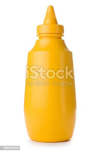 Plastic squeezey yellow mustard bottle isolated on a white background