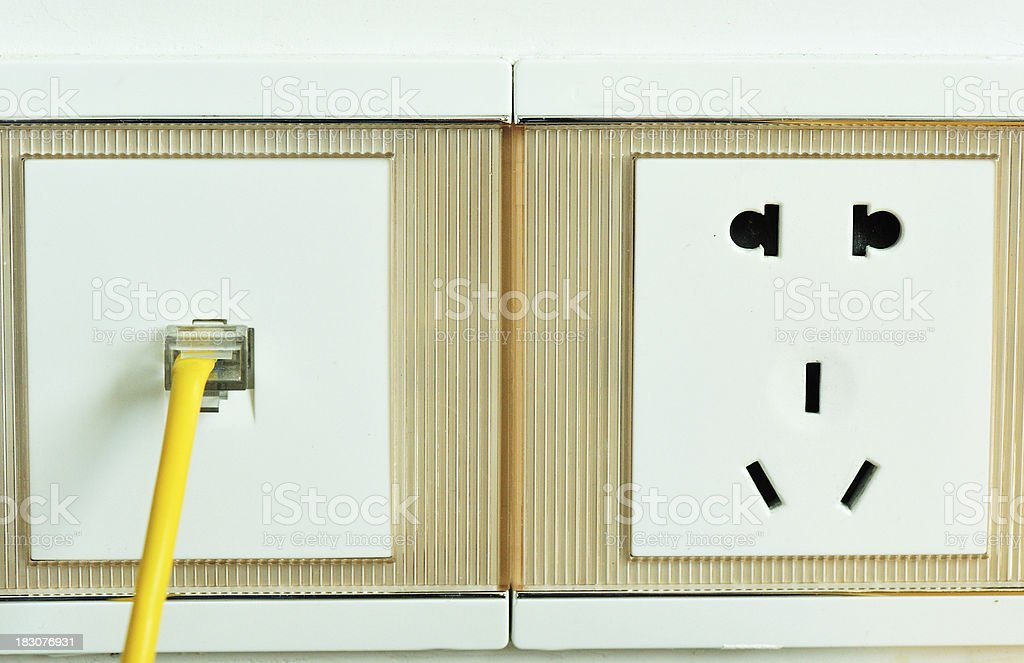 closeup of yellow network cable royalty-free stock photo