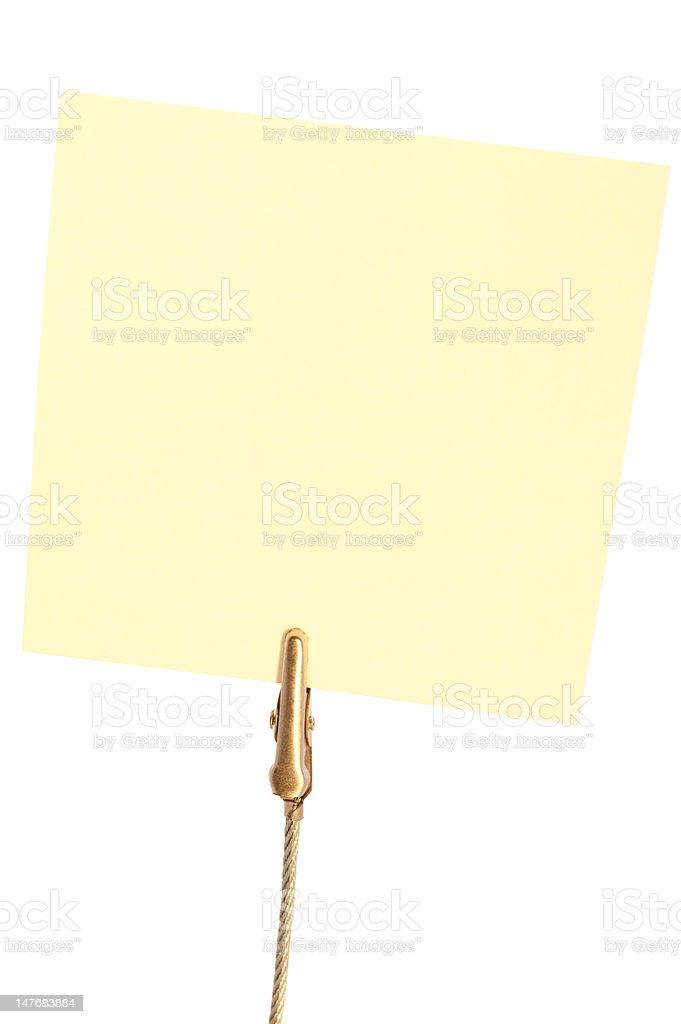Nahaufnahme der gelb Klebezettel halten Sie per clip – Foto