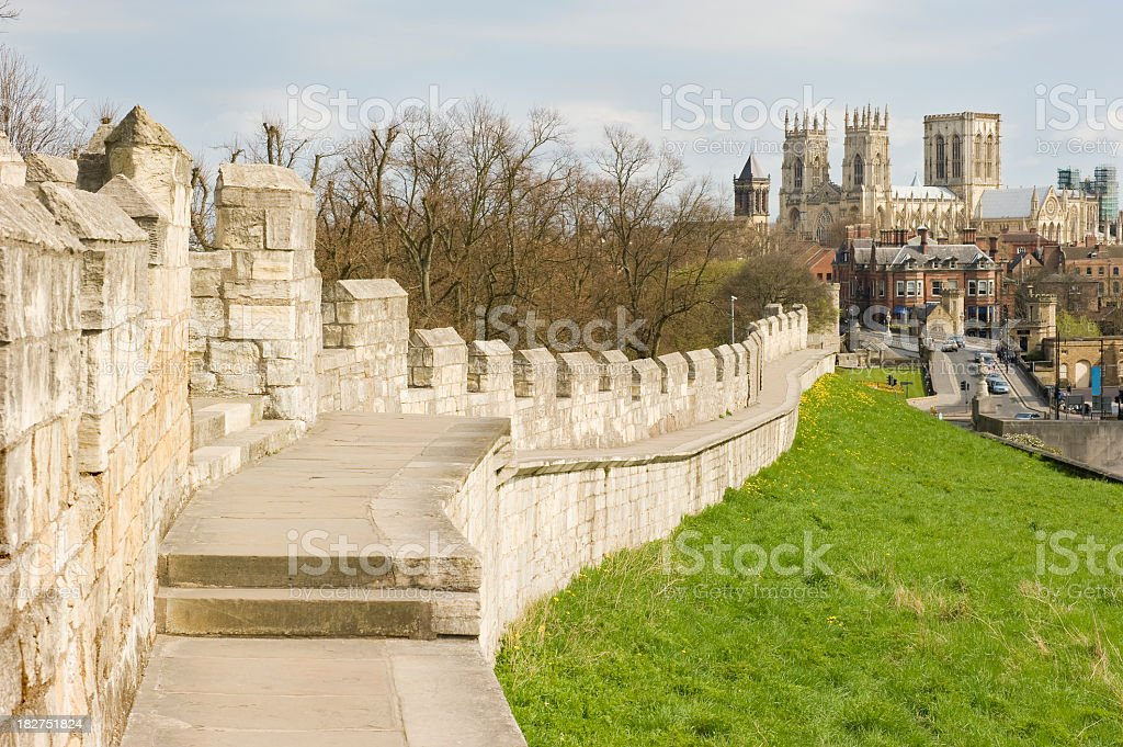 Closeup of York City wall with castle in the background stock photo