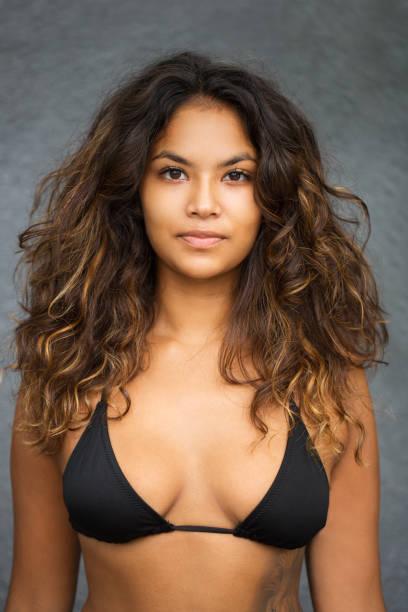 Closeup of Young Beautiful Woman In Swimming Bra stock photo