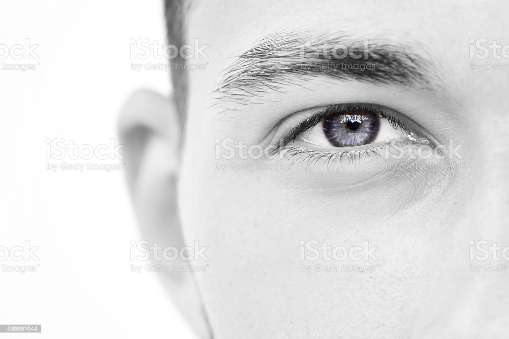 close-up of young man eye stock photo