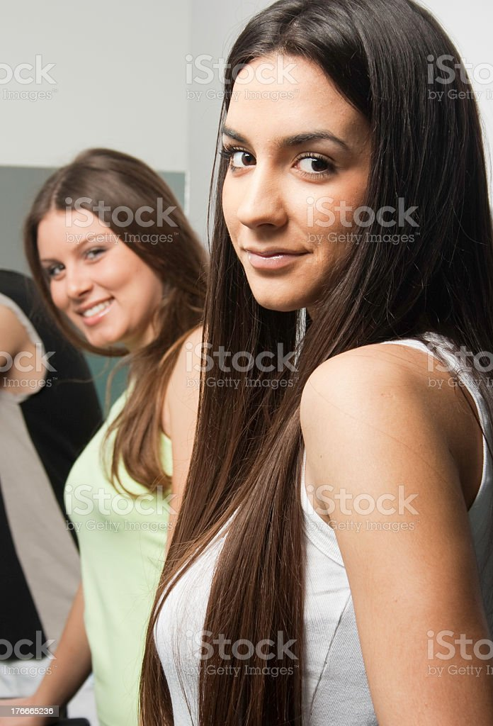 Closeup of young smiling girl with black hair royalty-free stock photo