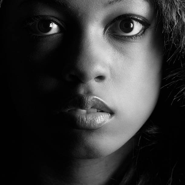 Close-up of Young Woman, Black and White stock photo