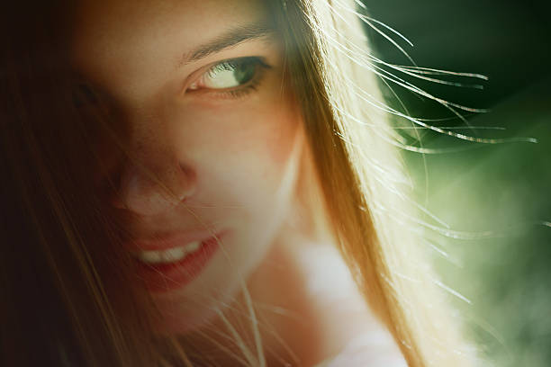 703 Pretty Teenage Girl With Blonde Hair And Green Eyes Stock