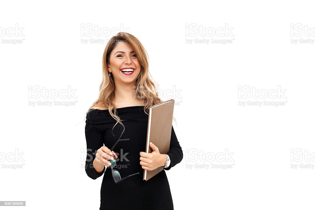 Primer plano de mujer joven Gesticular - foto de stock