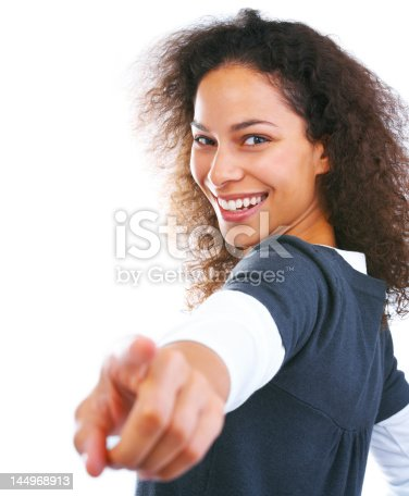 166407266istockphoto Close-up of young woman pointing at camera 144968913