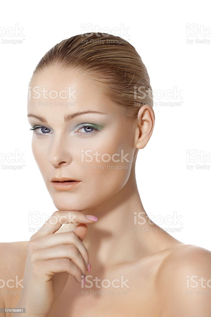 close-up of young woman with green make-up royalty-free stock photo