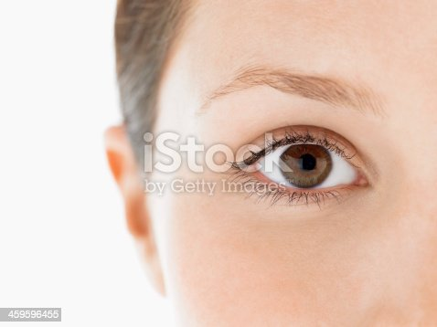 Closeup portrait of an eye of a young woman against white background