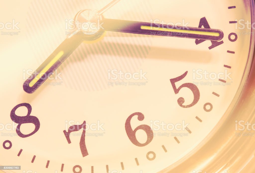 closeup old alarm clock stock photo
