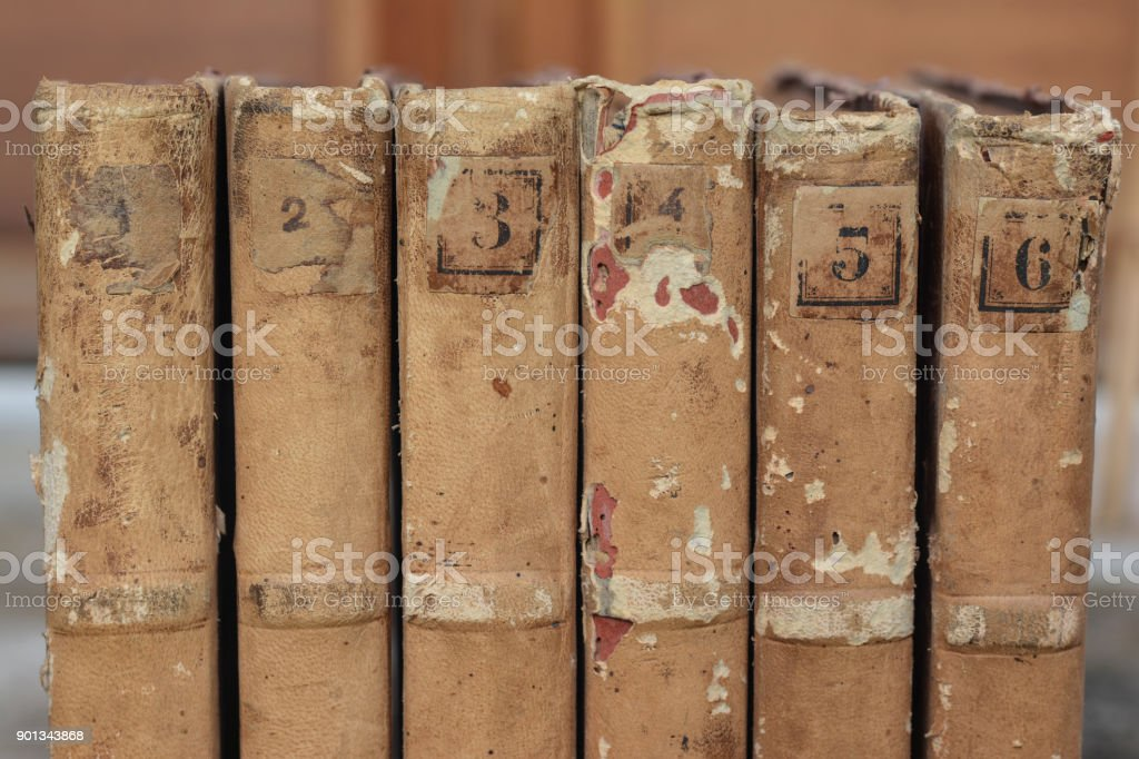 closeup old books for background stock photo