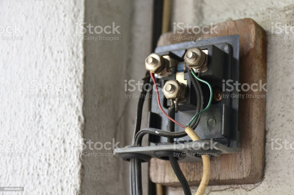 Superb Closeup Old Telephone Box System Control On The Wall Stock Photo Wiring 101 Capemaxxcnl