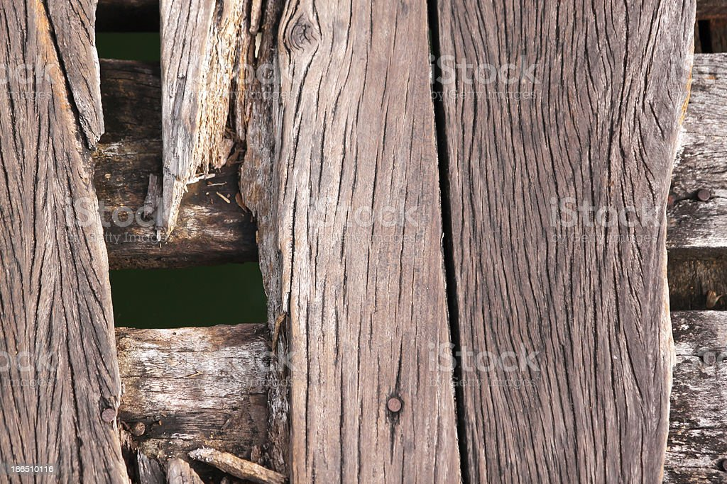 Close-up old wooden bridge view from top royalty-free stock photo