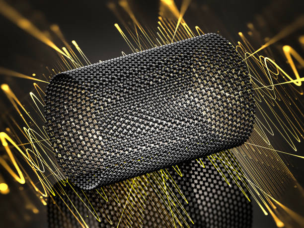 closeup on a graphene tube with yellow waves - graphene stock photos and pictures