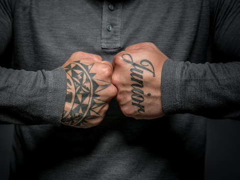 Closeup On A Maori Man Shoing The Tattos In His Hands Stock